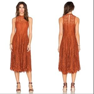 Free People Lace Trapeze Midi Dress in Copper